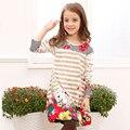 Горячая 2016 новый Высокое качество весна и осень Catimini марка дети милые цветы печати платье новорожденных девочек полосатые юбки длинные-рукава платья