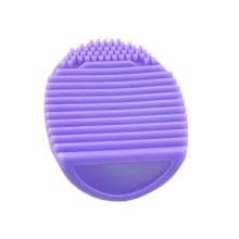 Silicone Makeup Brush Cleaning Mat Makeup Brush Cleaner Pad Cosmetic Brush Cleaning Mat Portable Washing Tool Scrubber (Purple) makeup brush cleaner finger silicone glove cosmetic cleaning tool page 2
