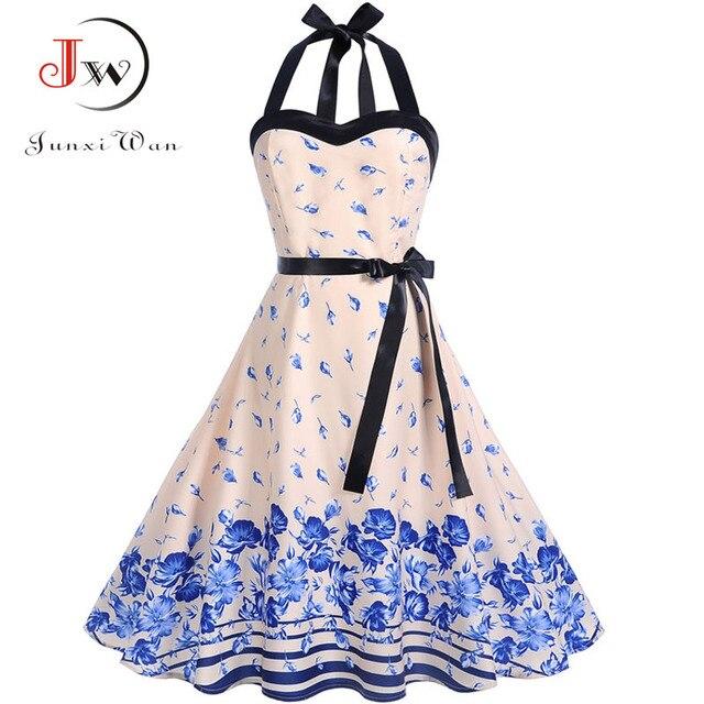edfc7767e68 2019 New Women Vintage Dress Summer Sleeveless Halter Sexy Party Dresses  Elegant Belt Tunic Plus Size Floral Print Sundress