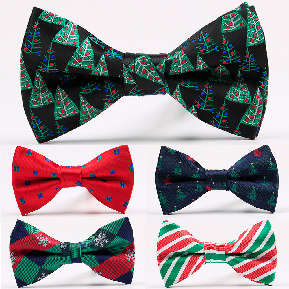 RBOCOTT New Christmas Bow Ties Fashion Bowties For Men's Festival Accessories Novelty Christmas Trees Snowflake Crutch Pattern