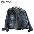 2016 Denim Jacket Women Fashion Beading Coats Women's Spring Autumn Jackets Turn-down Collar Slim jaqueta jeans Female Jacket