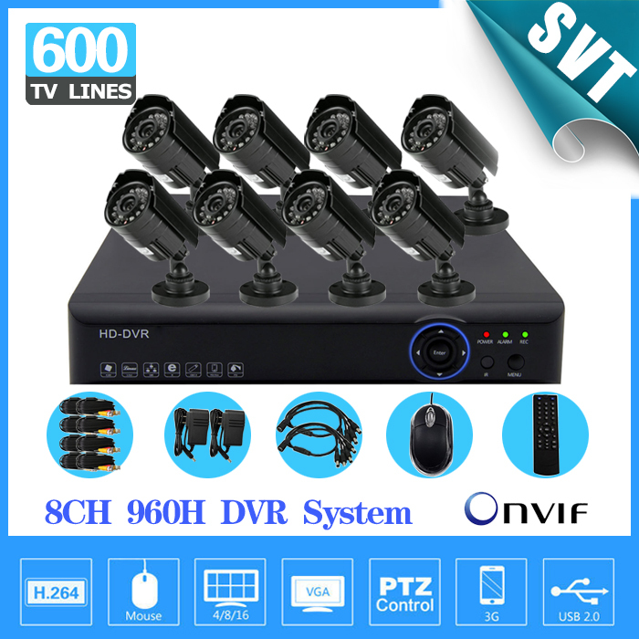 home cctv 8ch 960h 25fps real time recording dvr 8pcs IR outdoor waterproof security camera system