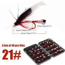 Sougayilang 40pcs Trout Fly Fishing Nymphs Dry Fly Fishing Flies with 14x9x3cm Box Artificial Lures Fly for Fishing Equipment