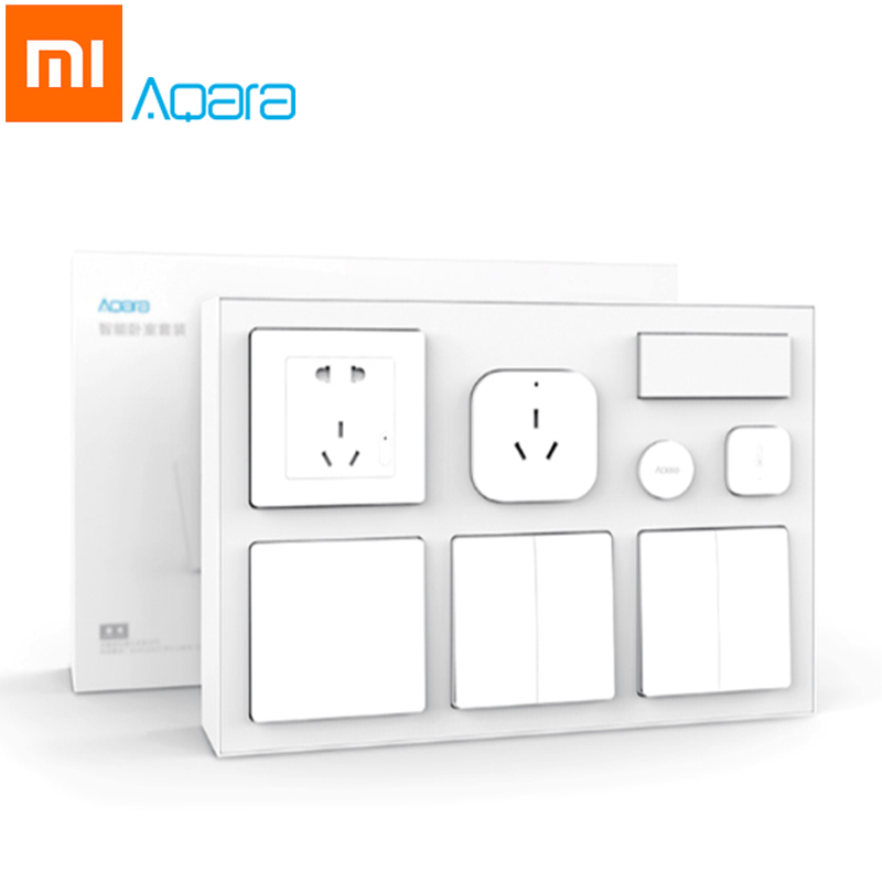 Xiaomi Aqara Mijia Smart Air Conditioner Mate Body Temperature Humidity Sensor Wall Socket Switch 2pcs Wireless Switch Kits xiaomi aqara mijia smart home temperature control set air conditioner controller temperature humidity sensor wireless switch