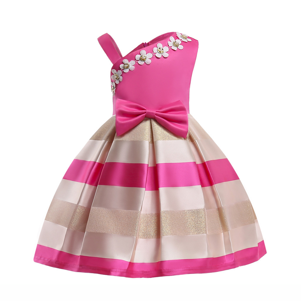 2018 Spring Summer New Girl Pearl Flower Bow Dress One Shoulder Belt Stripe Dress Child Dress 100 Cm - 150 Cm #2