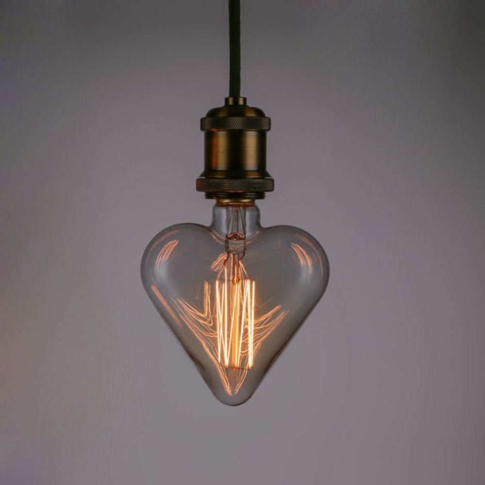 e27 base 40w 220v heart shape edison vintage style tungsten wire light bulbs festival romantic ampoules - Decorative Light Bulbs