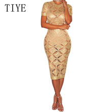 TIYE Women Dress Ladies Crochet Hollow Out Long Bodycon Knitted Dresses Sexy O-neck Short Sleeeve Summer Beach Party Slim