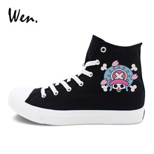 Wen Anime Shoes Men Women's Canvas Sneakers Design One Piece Tony Tony Chopper High Top Skateboarding Shoes Lace Up