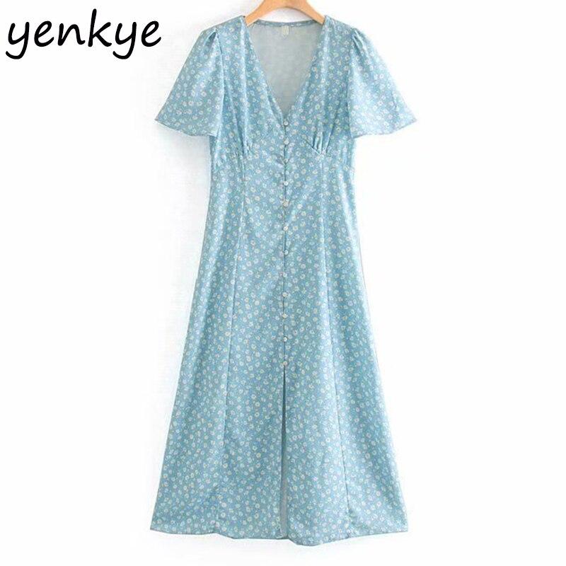 Женское платье с цветочным принтом, длинное платье с треугольным вырезом, коротким рукавом и высокой талией, лето 2019 Платья      АлиЭкспресс