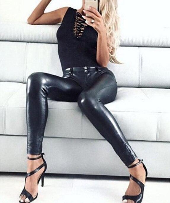 Fashion Women Leather PU WetLook Leatherette Leggings Trousers Ladies Bust Pants