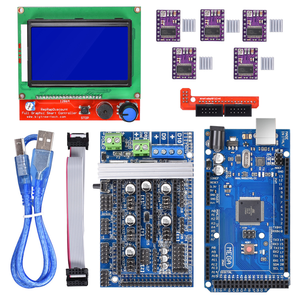 Ramps 1.6 Motherboard Kits Upgrade Ramps 1.4 Ramps 1.5 +A4988 DRV8825 Stepper Motor Driver+Mega 2560 R3 Reprap Mendel+12864 LCD control board lcd 12864 display controller module ramps 1 4 mega shield a4988 stepstick stepper motor driver with heat sink