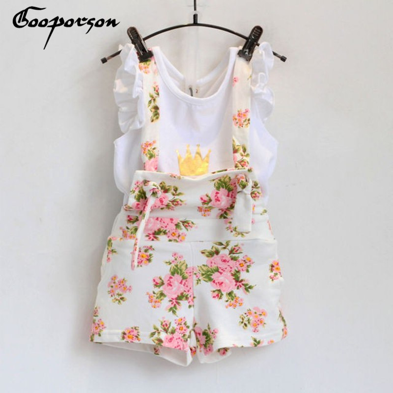New fashion girls clothes set summer crown shirt with floral overet suit for baby girl children clothes baby girl suit аксессуар для волос new brand edc edc sunflower floral crown