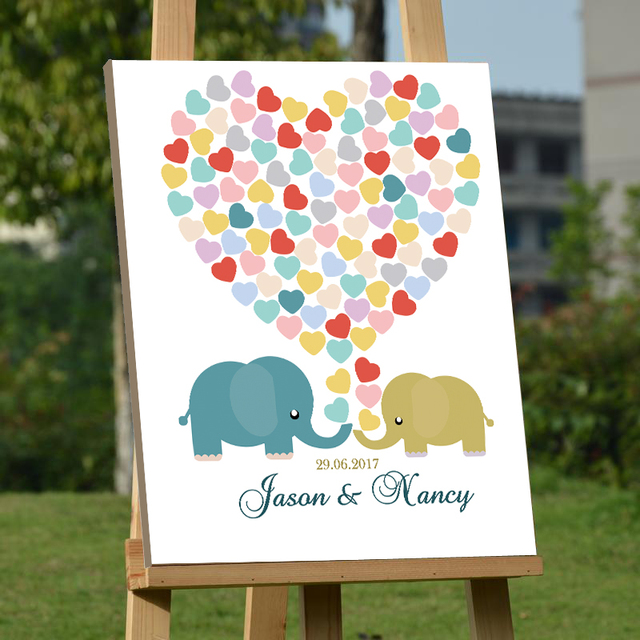 Baby Elephants Guest Book Personalized Fingerprint Wedding Guestbook