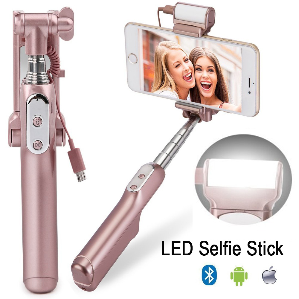 Ulanzi MiniPai Bluetooth Selfie Bâton Monopode avec mini Arrière Miroir/LED Selfie Remplir Lumière pour iPhone X Huawei Samsung mobile