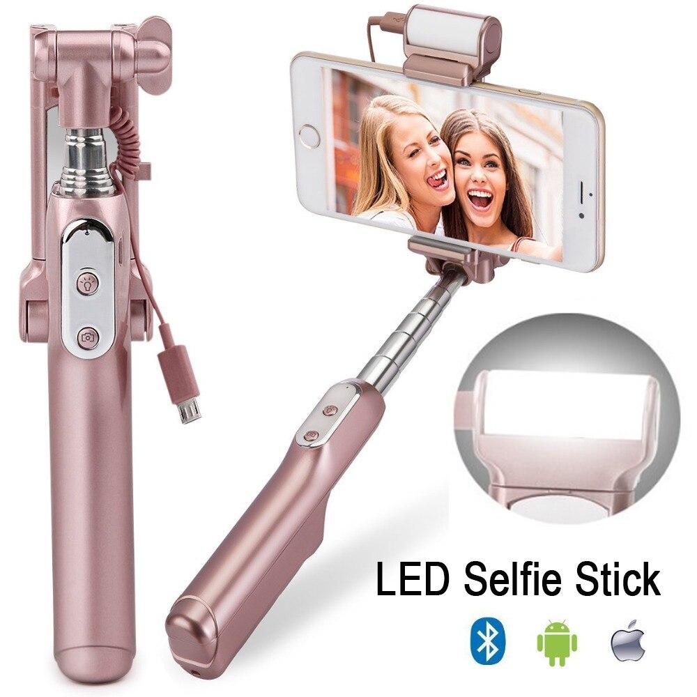 Ulanzi MiniPai Bluetooth Selfie Stick-einbeinstativ mit mini Hinten Spiegel/LED Selfie Füllen Licht für iPhone X Huawei Samsung mobile