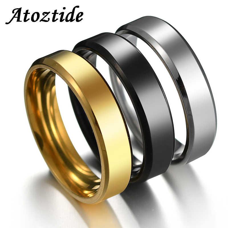 Atoztide ปรับแต่ง 6 มิลลิเมตร Simple แหวนสแตนเลสสำหรับผู้หญิงผู้ชายสีทอง/สีดำ/เงินแหวนงานแต่งงานวงดนตรี