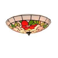 European Retro Tiffany Rose Ceiling Lamp E26 E27 Bulbs Modern Stained Glass Flush Mount Light Bedroom