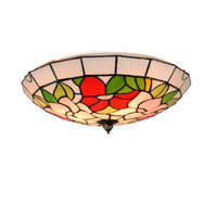 European Retro Tiffany Rose Ceiling Lamp E26/E27 Bulbs Modern Stained Glass Flush Mount Light Bedroom Dining Room Fixtures CL257