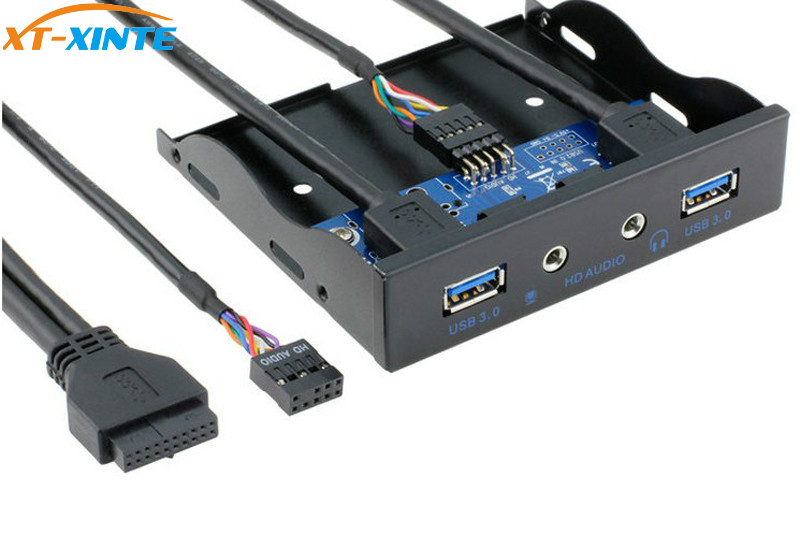 19Pin + 9Pin 2 Port USB Hub USB 3.0 HD Audio Vorderseite Combo Halterung Adapter Für Desktop Interne 3,5