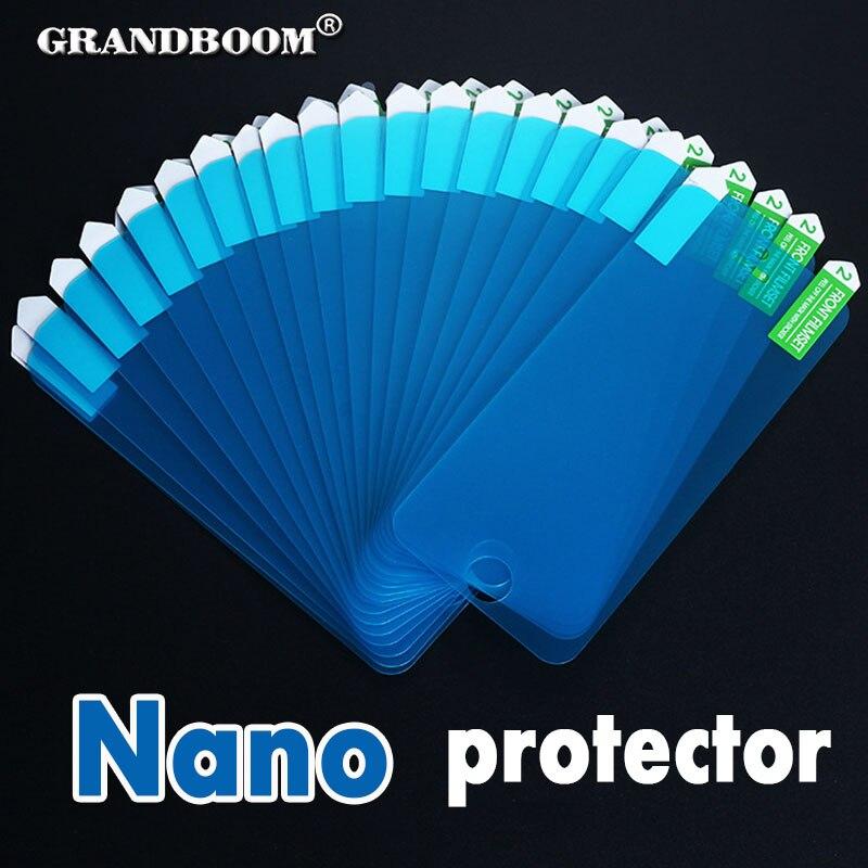 Цена за Grandboom nano мягкий взрывозащищенные экран протектор фильм гвардии для iphone 7 plus 6 6s se 5 5S 4 4S samsung note 5 4 s6 s7 50 шт.