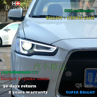 Hireno Headlamp For Mitsubishi Lancer Headlight Assembly LED DRL Angel Lens Double Beam HID Xenon 2pcs