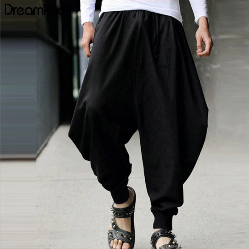 Linen Pants Harem Samurai-Style Male Long-Trousers Low-Drop-Crotch Summer Casual Wide-Leg