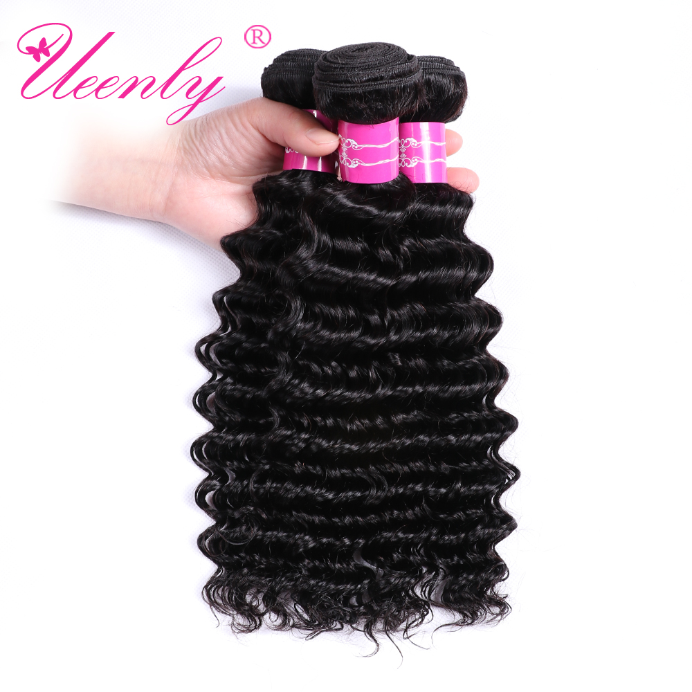 UEENLY Weave Hair-Weave-Bundles Extensions Natural-Color-Hair 100%Human-Hair Brazilian