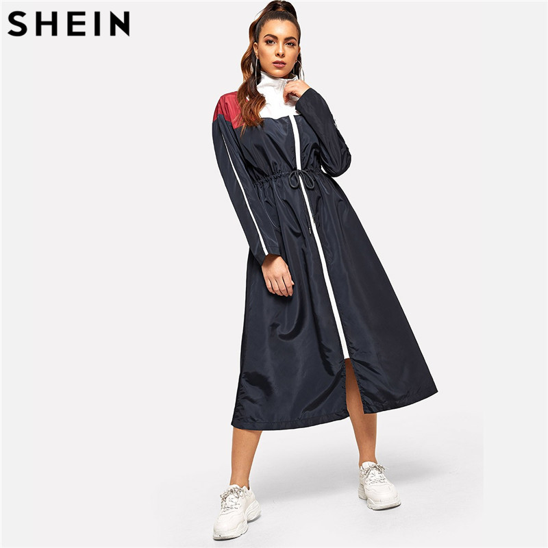 SHEIN Weekend Casual Multicolor Waist Drawstring Zip Color Block Dress Solid Stand Collar Dress Women Autumn H Type Dress