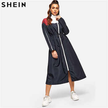 SHEIN Weekend Casual Multicolor Waist Drawstring Zip Color Block Dress Solid Stand Collar Dress Women Autumn H Type Dress - DISCOUNT ITEM  40% OFF All Category