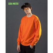 SODA WATER Basic O-neck Sweatshirts New Pullover Spring Autumn Fashion Mens Solid Colour Streetwear Hoodies 166W17