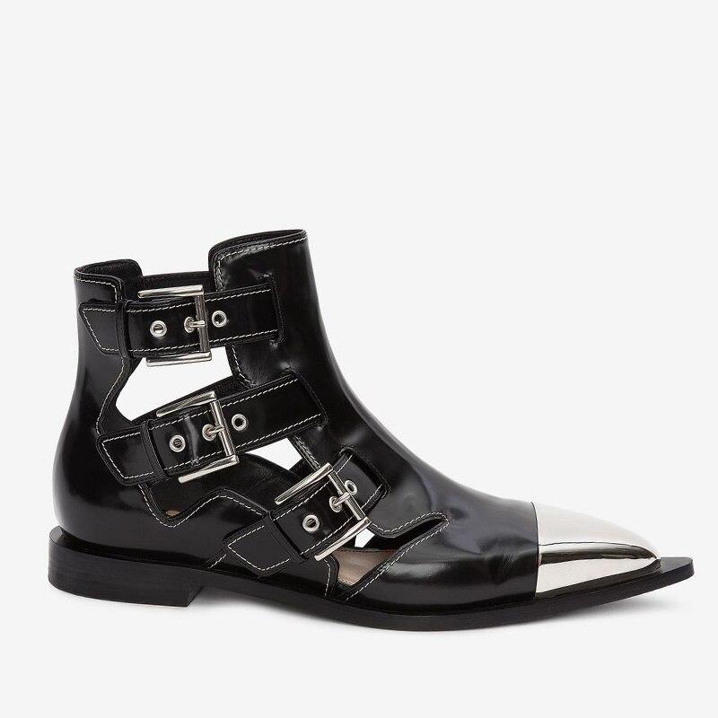 Puntiagudo Tacones Del Vaca Verano Las Tobillo Mujeres Botas Wetkiss Dedo De Botines Cuero Metal Calzado Pie Bajos Decoración Nuevo Negro Mujer Zapatos 2019 vwxdq0wHO