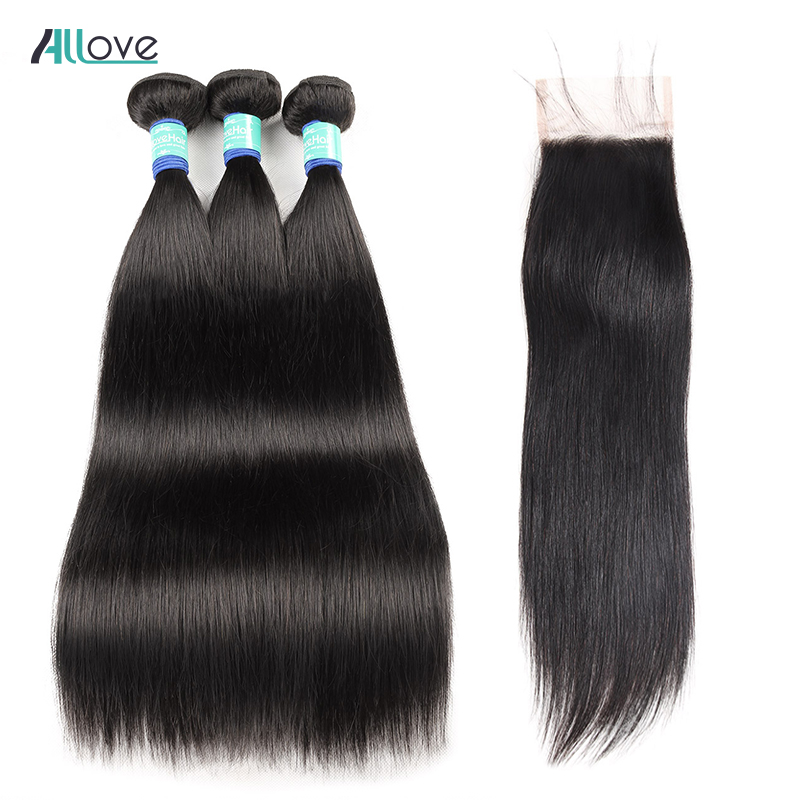 Allove Straight Hair Bundles With Closure Brazilian Hair Weave Bundles With Lace Closure Remy Human Hair Bundles With Closure