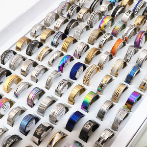 Wholesale 100pcs/Lots Mens Womens Stainless steel Rings Fashion Jewelry Party Gift Wedding Rings Mix Style(China)