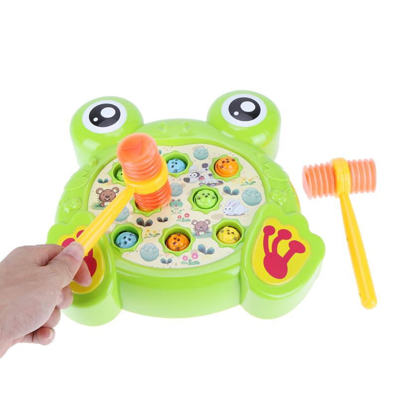 Electric Play Hamster Music Toys Hammer Children Frog Shape Playing Hamster Family Game Toy Kids Early Learning Educational Toy
