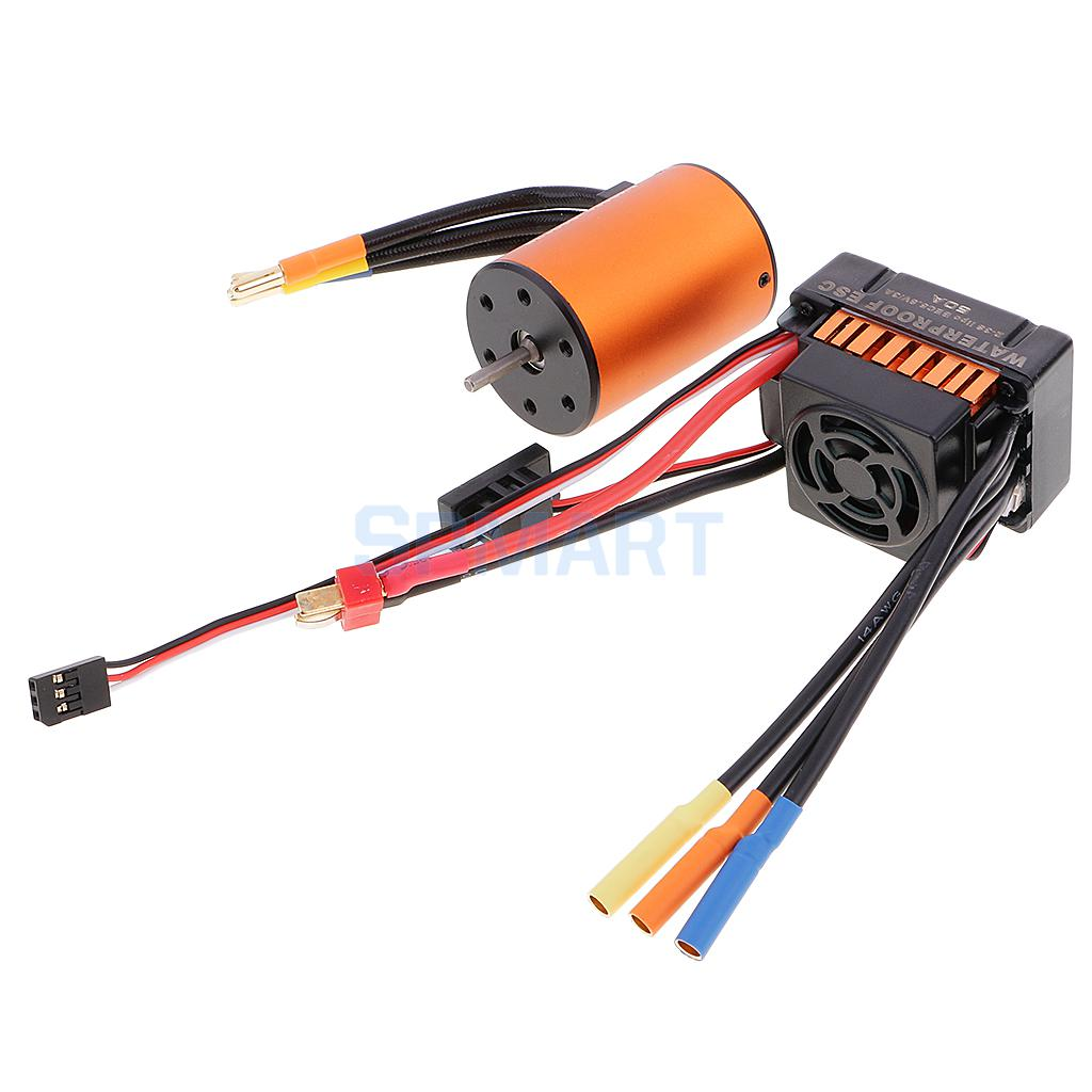 Waterproof 3650 4300KV Brushless Motor+60A ESC Combo Set for 1/10 RC Car Truck Crawler surpass hobby upgrade waterproof 3650 3900kv rc brushless motor with 60a esc combo set for 1 10 rc car truck motor kit