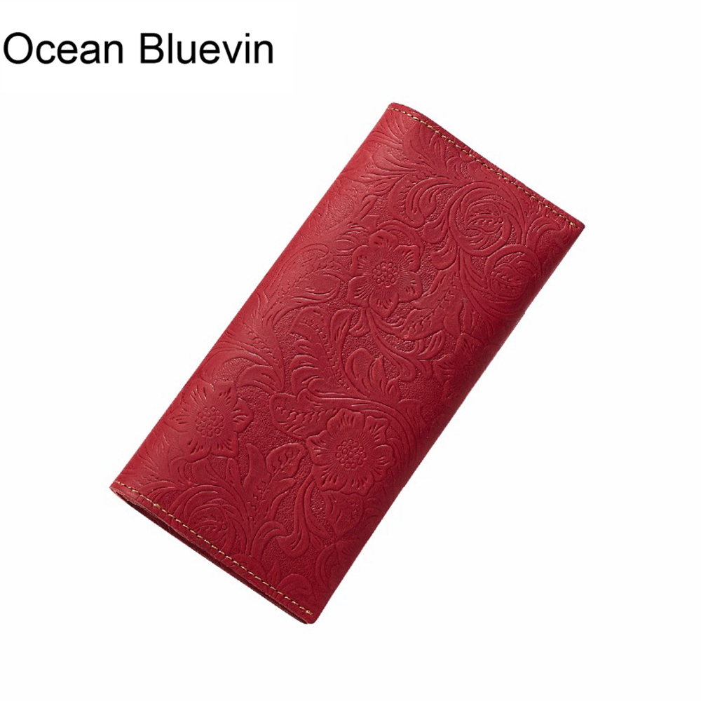 OCEAN BLUEVIN Embossed Flowers Genuine Leather Women Wallet Brand Design Fashion Long Purse Clutch Coin Purse Card Holder Lady hasbro nerf nitro c0774 нерф нитро машинки 3 шт
