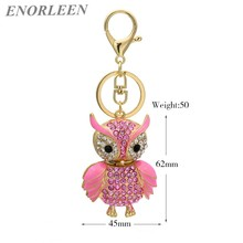 ENORLEEN Brand Luxurious cute owl key chain multiple color car pendant noble elegant rhinestone sweater chains gift for women
