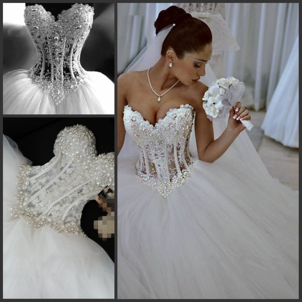 Bodice Wedding Gown: Princess Ball Gown Sweetheart Lace Appliques Pearl See