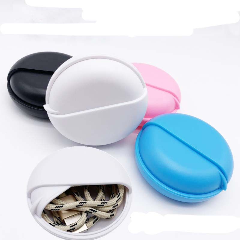 Rotating Cover Round Earphone Wire Organizer Box Data Line Cables Storage Case Plastic Container Jewelry Headphone medecine Box in Storage Boxes Bins from Home Garden
