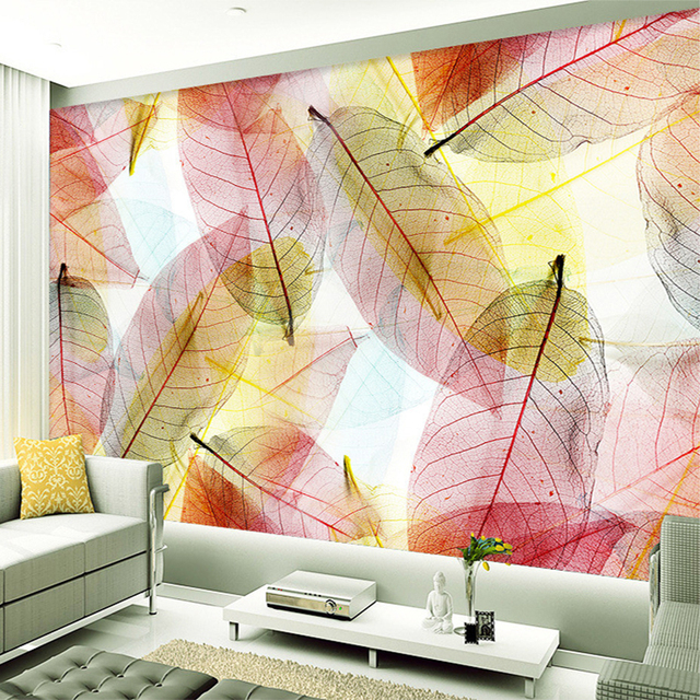 Custom Mural Wallpaper Modern Abstrak Daun Warna Bukan Tenunan Lukisan Dinding Ruang Tamu Kamar Tidur Latar