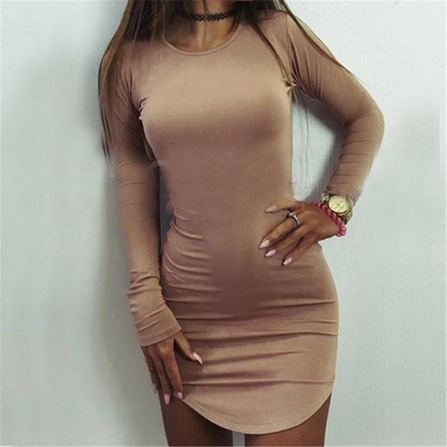354901242f8 2016 New Fashion Women high quality plus size autumn long Sleeve Slim  Bodycon Sexy Mini Dress dresses Vestido Curto Cortos-in Dresses from  Women s Clothing ...