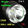 Wholesale - 1800 Lumens CREE XML T6 LED Bicycle Bike Headlight Lamp Flashlight Light Headlamp With battery & Charger 40pcs DHL