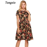Tengeio Women Back Lace Up Pleated Flower Dress Summer Casual O Neck Short Sleeve Sexy Boho