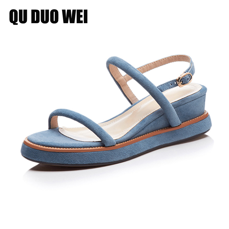 kid suede leather women sandals 2018 new open toe back strap platform wedges sandals buckles high heels shoes women flip flops mcckle fashion superior quality comfortable bohemian wedges women sandals for lady shoes high platform open toe flip flops plus