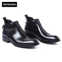 Homens Chelsea Boots Genuíno Couro Preto Dedo Apontado Moda de Luxo Fivela Escritório de Negócios Formal Sapatos Tornozelo Botas de Motociclista Do Motor