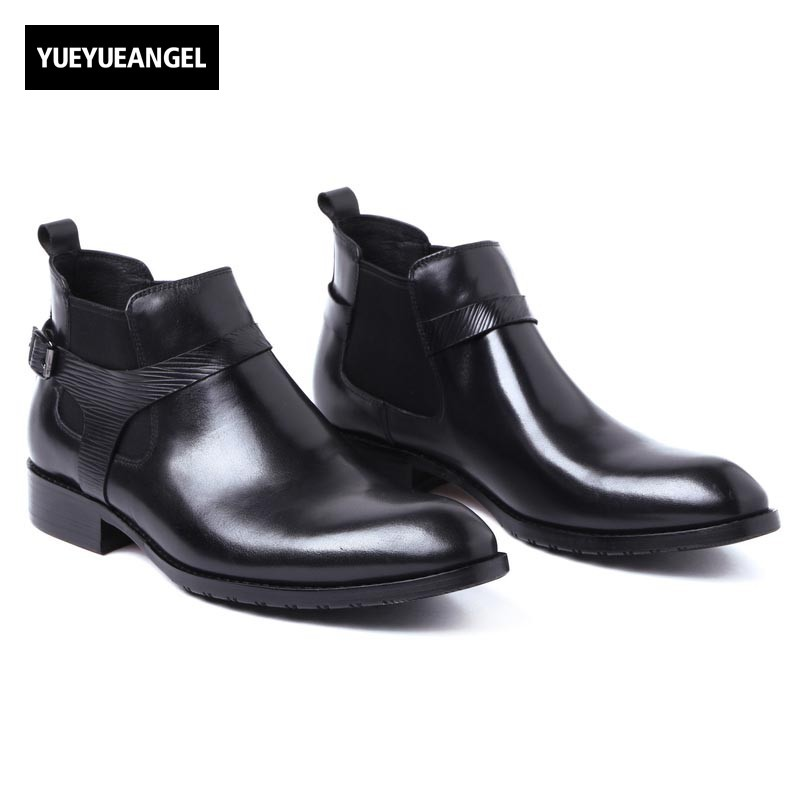 Men Chelsea Boots Genuine Leather Black Pointed Toe Luxury Fashion Buckle Business Office Formal Ankle Boots Motor Biker Shoes new fashion men shoes comfortable pointed toe genuine leather for men chelsea boots brogue anti skid business shoes black brown