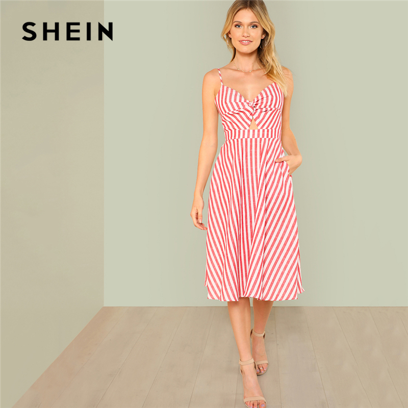 62751e17b8e7 SHEIN Red Vacation Boho Bohemian Beach Backless Twist Front Cutout Knot  Back Striped V Neck Cami Dress Summer Women Sexy Dresses-in Dresses from  Women s ...