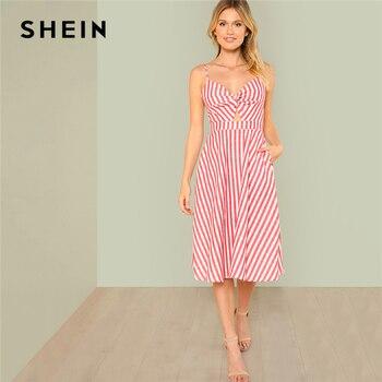 76d44416ad SHEIN rojo vacaciones Boho Bohemia playa vestido giro frente recorte nudo a  rayas con cuello en V vestido de Cami verano mujer Sexy vestidos