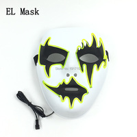 Бесплатная доставка 10 шт. 10 Цвета доступны EL проволоки маска партии реквизит по звуковая активация led маска для Хеллоуина