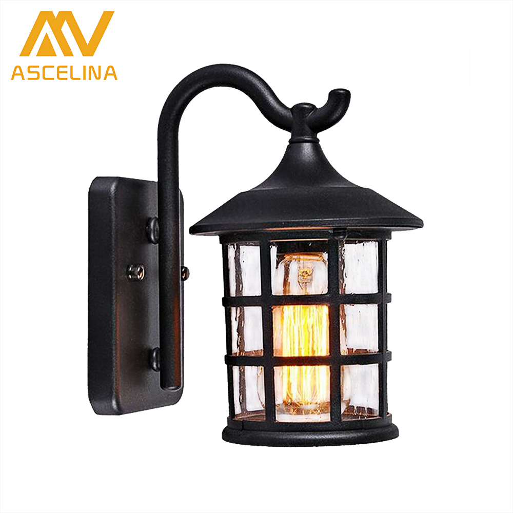 Antique Rustic Iron Waterproof Outdoor Wall Lamp Vintage Kerosene Lantern Light Rusty Matte black Corridor Hallway Wall Sconce iron lantern